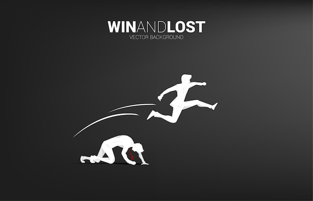 Silhouette of businessman jump across the other one . business concept for competition win and lost.
