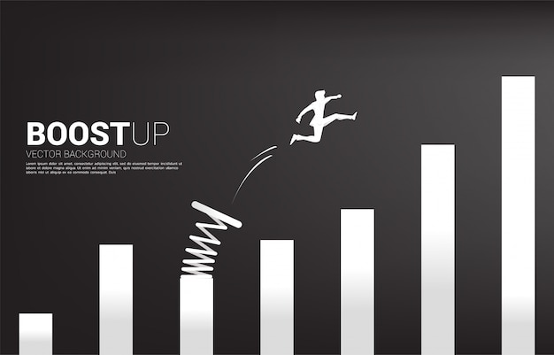Silhouette of businessman jump to higher column of graph with springboard. concept of boost and growth in business