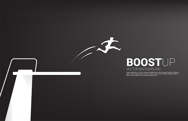 Silhouette of businessman jump higher with springboard. concept of boost and growth in business.