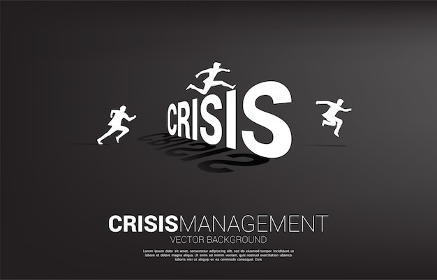 Silhouette businessman jumping across crisis. concept for crisis management and challenge in business