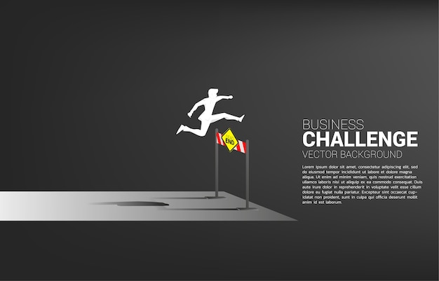 Silhouette businessman jumping across dead end hurdles obstacle. background concept for obstacle and challenge in business