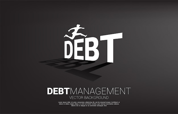 Silhouette businessman jumping across debt. concept for debt management and challenge in business