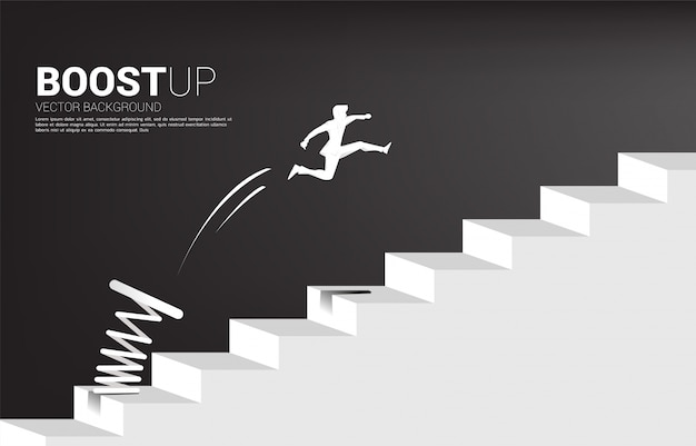 Silhouette of businessman jumping to pass step with springboard,. business concept of targeting and customer.route to success.