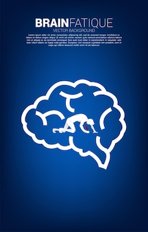 Silhouette of businessman on knee in brain icon. concept for tired people and brain fatique.