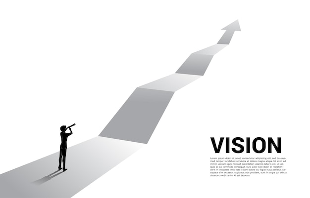 Silhouette of businessman looking through telescope on forward arrow. business concept for mission and finding trend.