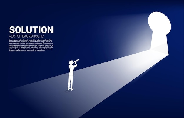 Silhouette of businessman looking through telescope looking to key hole exit. find the solution concept vision mission and goal of business