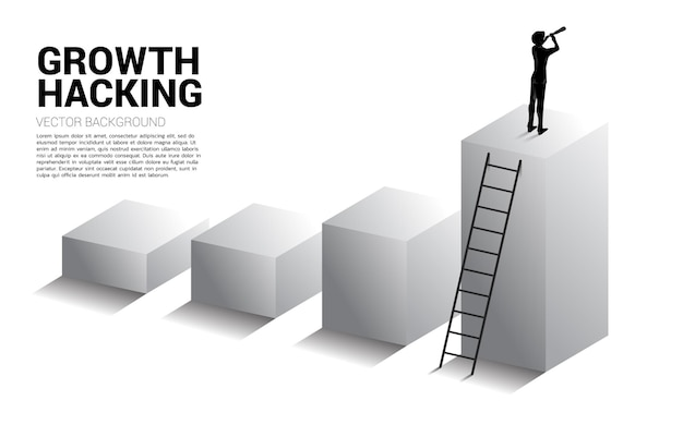 Silhouette of businessman looking through telescope standing on business trend graph. business concept for mission and finding trend.