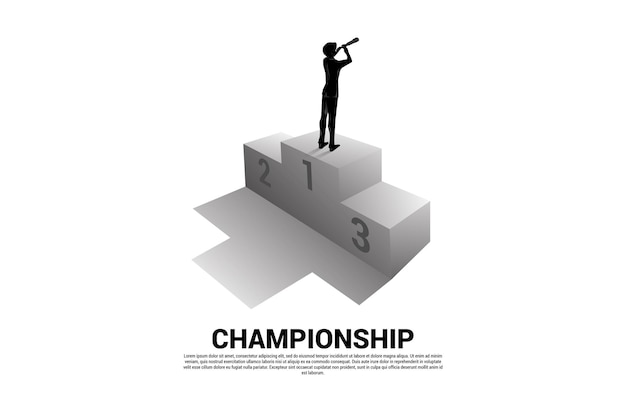Silhouette of businessman looking through telescope standing on first place podium. business concept of winner and success