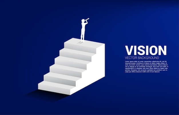 Silhouette of businessman looking through telescope standing on stair. business concept for mission and vision.