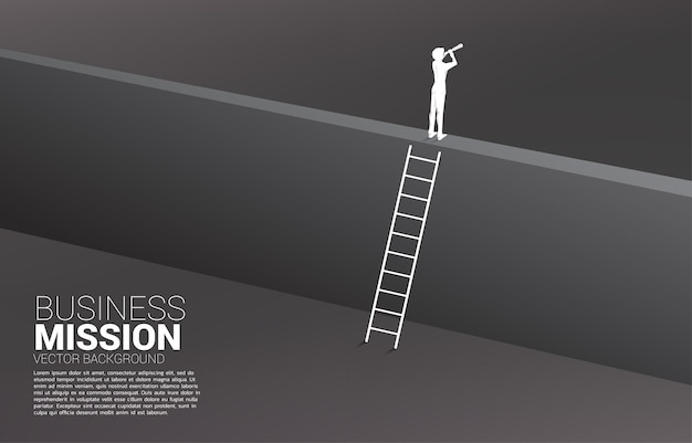 Silhouette of businessman looking through telescope on the wall with ladder. concept of vision mission and goal of business