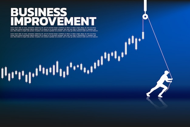 Silhouette of businessman pull up the business graph with rope and reel.