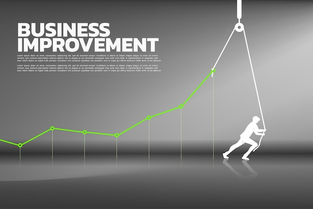 Silhouette of businessman pull up the business graph