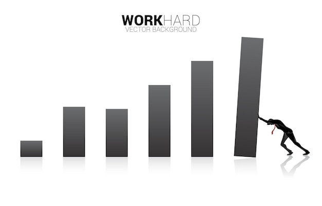 Silhouette of businessman push the business graph. concept of business improvement.