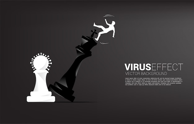 Silhouette of businessman push virus chess piece to checkmate the king with falling down businessman. concept of business virus effect