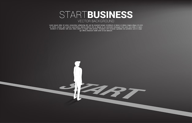 Silhouette of businessman ready to go from start line. concept of people ready to start career and business