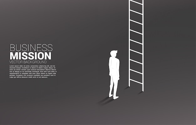 Silhouette of businessman ready to go up with ladder. concept of vision mission and goal of business