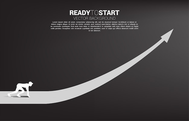 Silhouette of businessman ready to run from start line on growing graph template