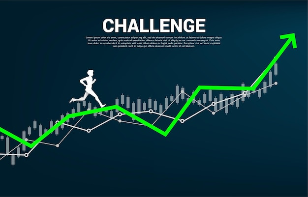 Silhouette of businessman run on growing graph. concept of people ready to start career and business