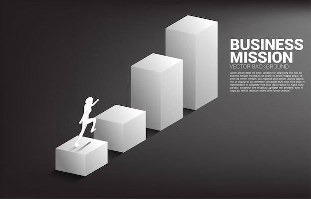 Silhouette of businessman running on bar graph. concept of people ready to up level of career and business.