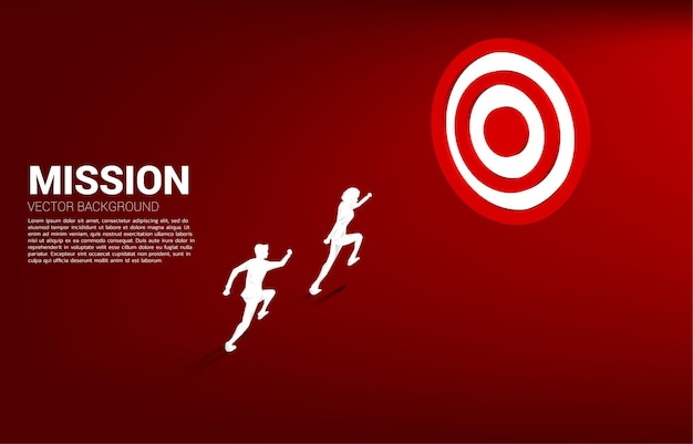 Silhouette of businessman running to center dartboard. business concept of route to goal and direct to target.