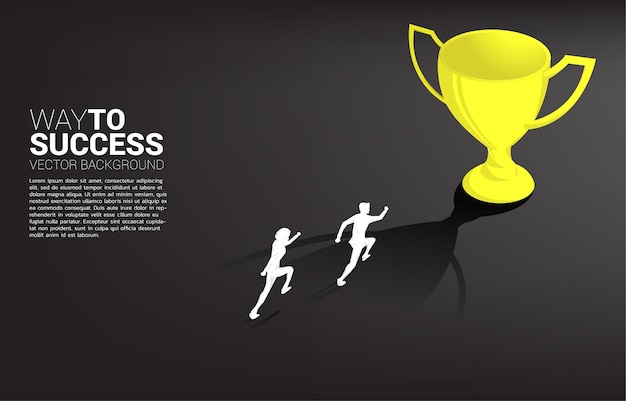 Silhouette businessman running to champion trophy. business concept of leadership goal and vision mission