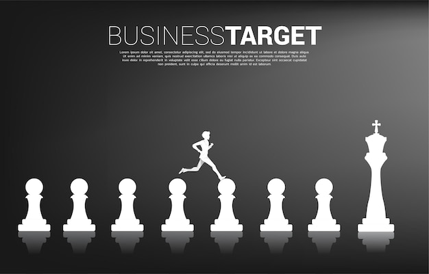 Silhouette of businessman running on chess piece from pawn to king. concept of goal, mission, vision, career path, and strategy