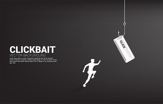 Silhouette of businessman running to fishing hook with click button. banner of click bait and digital phishing.