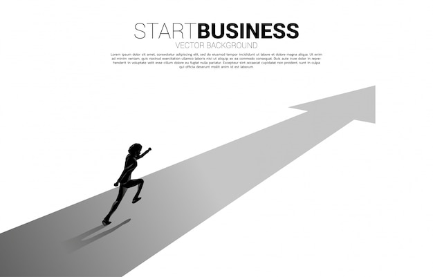 Silhouette of businessman running on forward arrow.