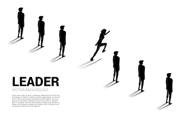 Silhouette businessman running from group of line.