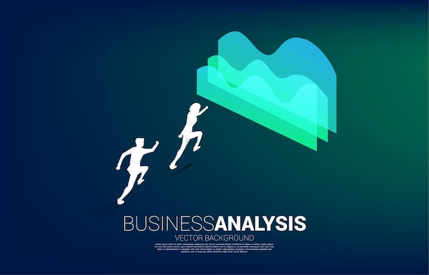 Silhouette of businessman running to graph. concept of business information and data analysis.
