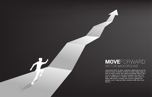 Silhouette of businessman running on growth graph arrow.