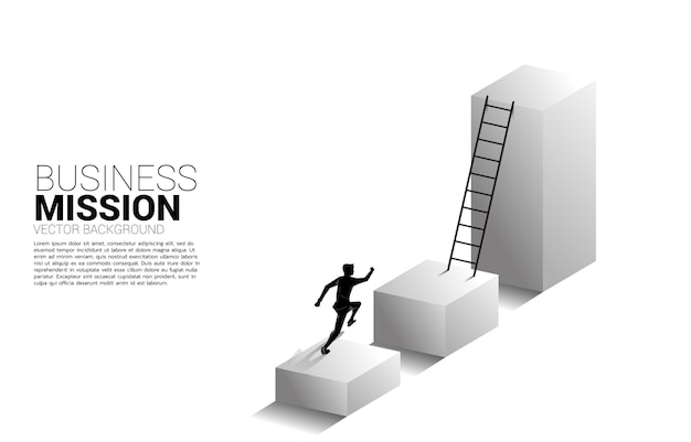 Silhouette of businessman running to move up on bar graph with ladder.