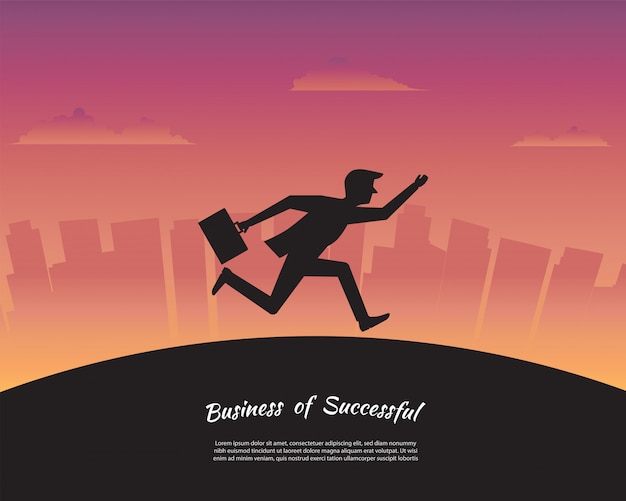 Silhouette businessman running to success goal