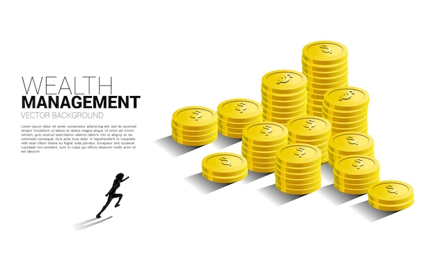 Silhouette of businessman running to top of stack of coin.