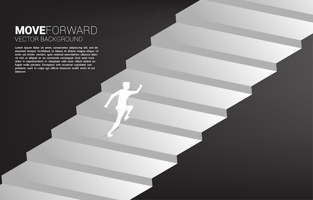 Silhouette of businessman running up on stair.