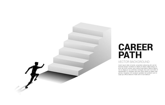 Silhouette of businessman running up on stair