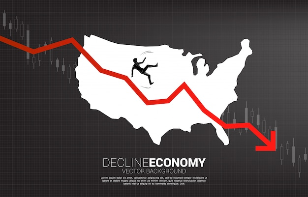 Silhouette of businessman slip and falling down from downturn graph with usa map. concept of decline economy in america.