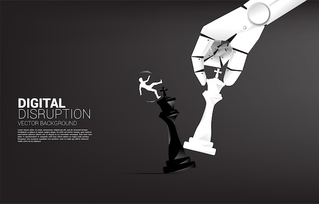 Silhouette of businessman slip and falling down from robot hand move chess piece to checkmate king.