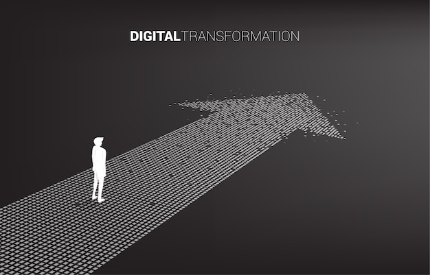 Silhouette of businessman standing on the arrow from pixel. concept of digital transformation of business.