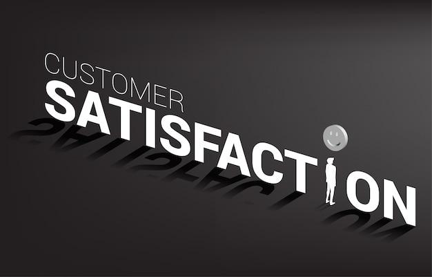 실루엣 사업가 서입니다. 고객 만족, 고객 평가 및 순위의 개념.