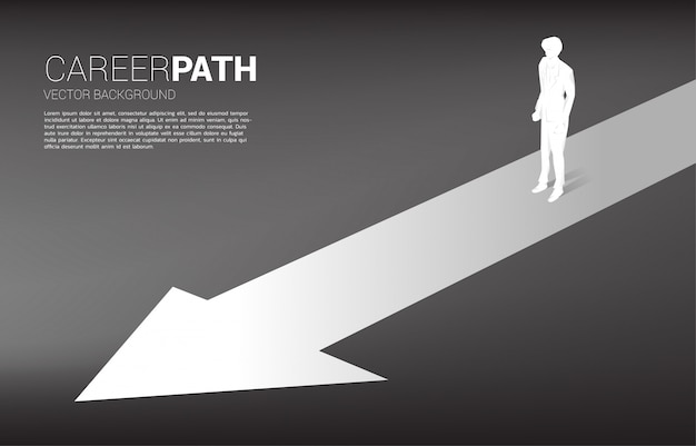 Silhouette of businessman standing on forward arrow. concept of career path and start business