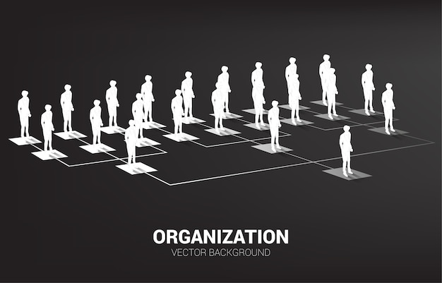 Silhouette of businessman standing on organization chart . business concept of corporate structure and team hierarchy