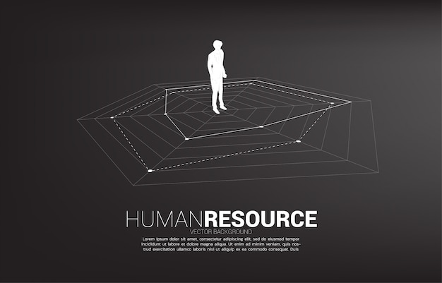 Silhouette of businessman standing on spider chart. concept of perfect recruitment. human resource. put the right man on the right job.