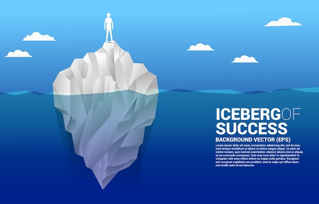 Silhouette of businessman standing on top of iceberg.