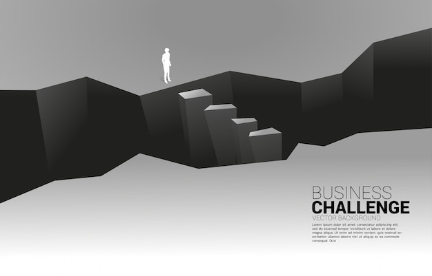 Silhouette of businessman standing at valley. concept of business challenge and courage man