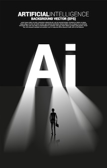 Silhouette of businessman standing with ai text exit door. business concept for machine learning and a.i artificial intelligence