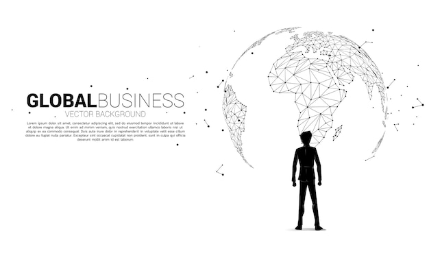 Silhouette of businessman standing with the globe. business concept of world target mission.