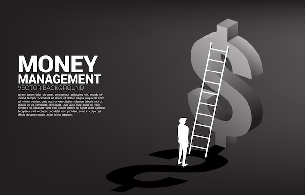 Silhouette of businessman standing with ladder and 3d dollar icon background template