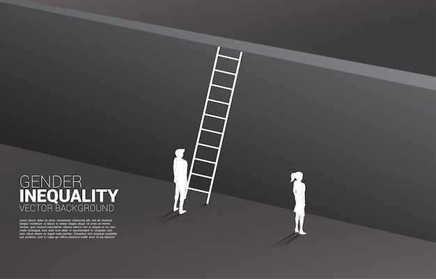 Silhouette businessman standing with with ladder to climb to wall and businesswoman .  gender inequity in business and obstacle in woman career path