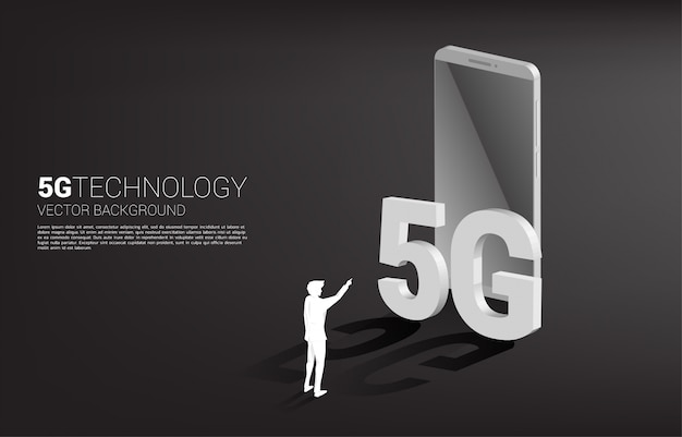 Silhouette of businessman touch isometric and mobile phone. concept for mobile phone technology and telecommunication.